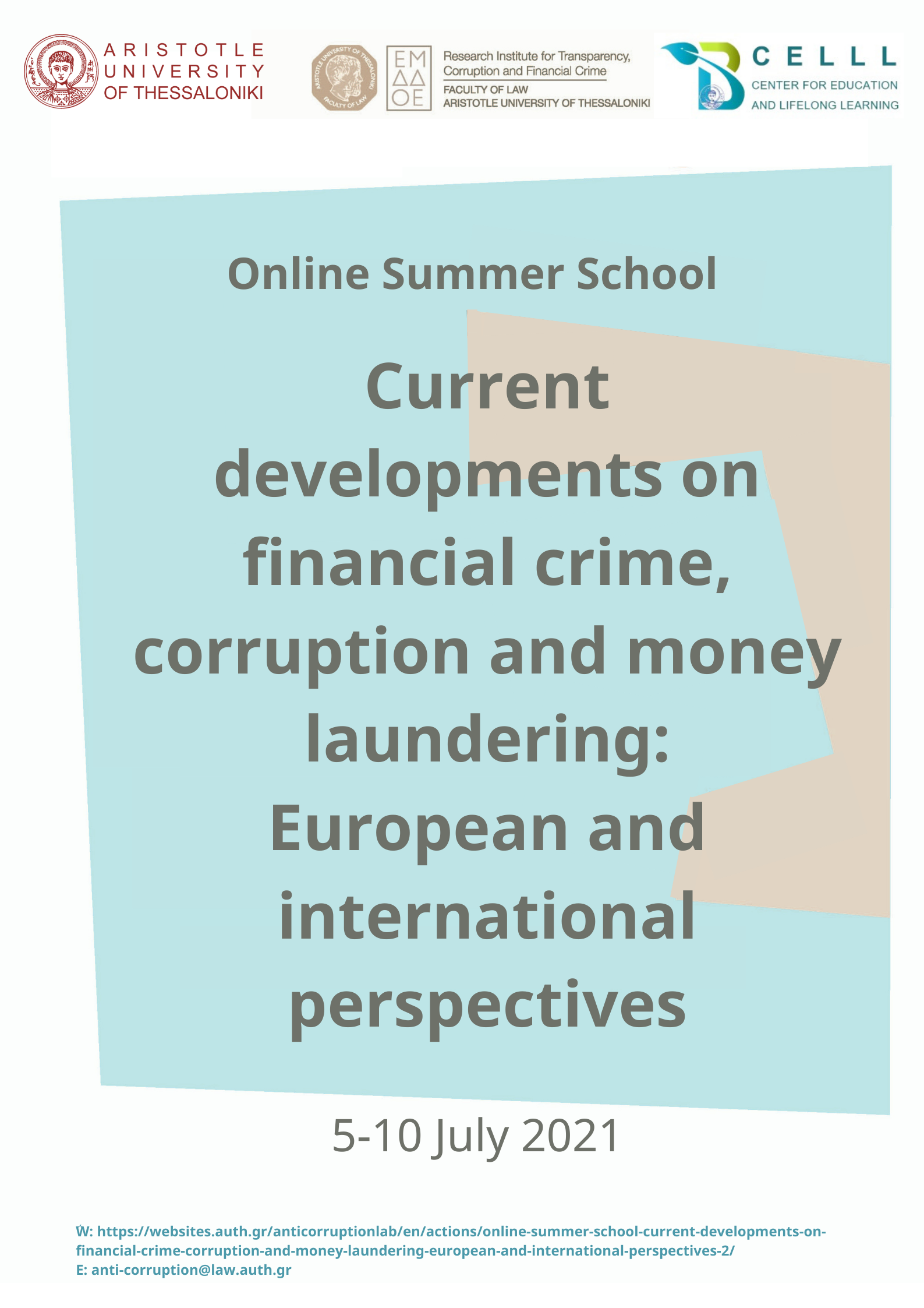 """Online Θερινό σχολείο """"Current developments on financial crime, corruption and money laundering: European and international perspectives"""""""
